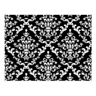 Black and White Damask Pattern Post Cards