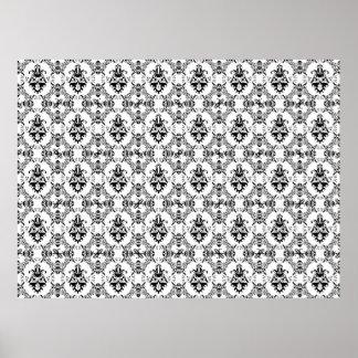 Black and White Damask Pattern Print