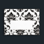 """Black and White Damask Pattern Print A7 Envelope<br><div class=""""desc"""">Black and White Damask Pattern Printed A7 Envelope Template. Black White Damask graphic design pattern makes this an elegant envelope for your special occasion. Envelope has a blank section on the front for your mailing address. Fully customizable. Personalize with your text, graphics, monogram and or photograph on the front, back...</div>"""
