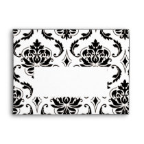 Black and White Damask Pattern Print A7 Envelope