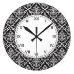 Black and White Damask Pattern Round Wall Clocks