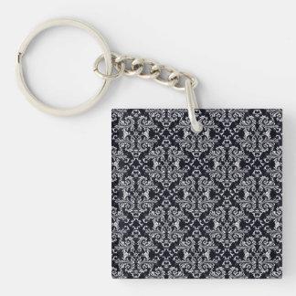 Black and White Damask Pattern Single-Sided Square Acrylic Keychain