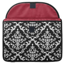 Black and White Damask Pattern Sleeve For MacBook Pro