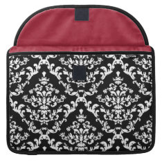 Black And White Damask Pattern Sleeve For Macbook Pro at Zazzle