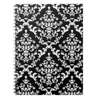 Black and White Damask Pattern Spiral Note Books