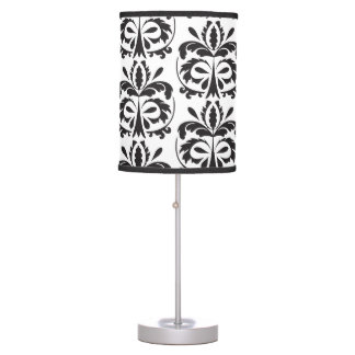 Black and White damask pattern Table Lamp