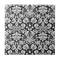 Black and white damask pattern tile