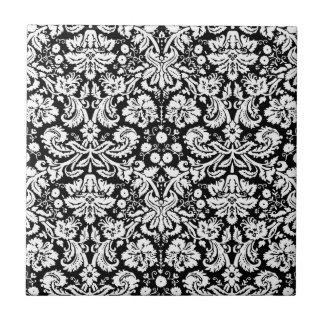 Black and white damask pattern tile