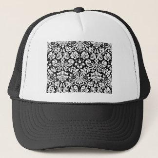 Black and white damask pattern trucker hat