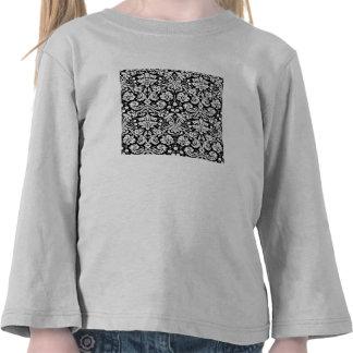 Black and white damask pattern tshirt