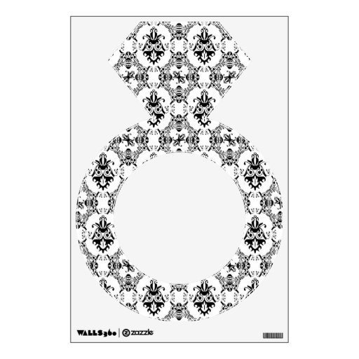 Black and White Damask Pattern Wall Decals