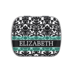 Black and White Damask Pattern with Custom Name Candy Tin at Zazzle