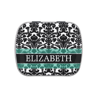 Black and White Damask Pattern with Custom Name Candy Tin