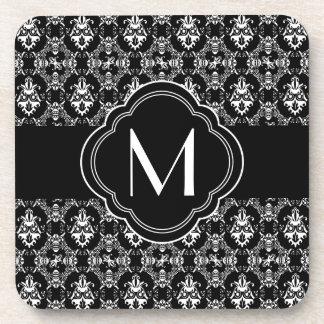 Black and White Damask Pattern with Monogram Coaster
