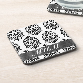 Black and white damask personalized mom drink coaster