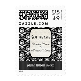 Black and white damask personalized save the date postage stamps