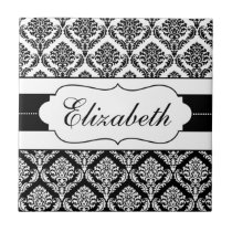 Black and White Damask Personalized tile