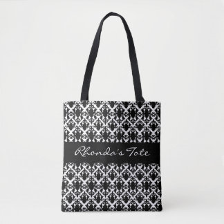 Black and White Damask Personalized Tote Bag