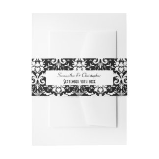Black and white damask personalized wedding invitation belly band