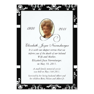 Black and White Damask Photo Death Announcement