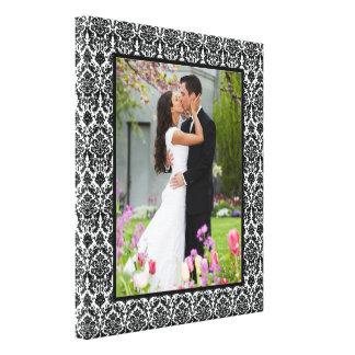 Black and White Damask Photo Frame Canvas Print