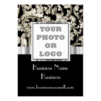 Black and white damask photo logo large business cards (Pack of 100)