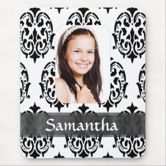 Black and white damask photo template mouse pad