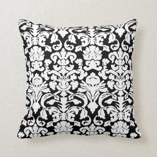 Damask Throw Pillows Black White : Black and white damask pillow Zazzle