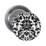 Black and White Damask Pin