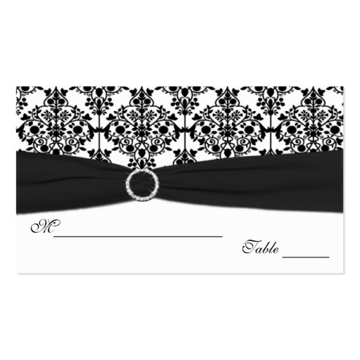 Black and White Damask Placecards Business Card