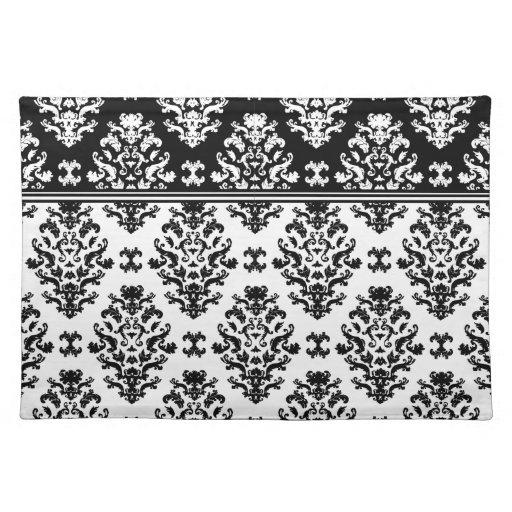black and white damask placemat zazzle. Black Bedroom Furniture Sets. Home Design Ideas