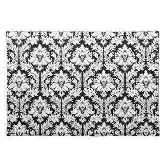 black and white damask placemat. Black Bedroom Furniture Sets. Home Design Ideas