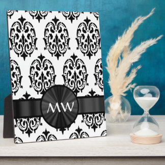 Black and white damask display plaque