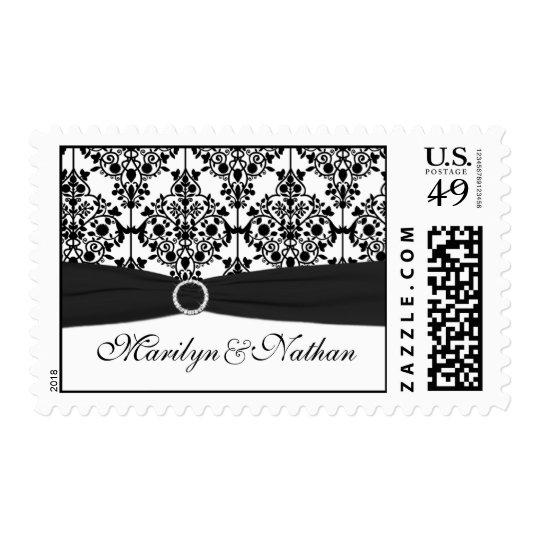 Black and White Damask Postage
