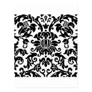 Black and White Damask Postcard