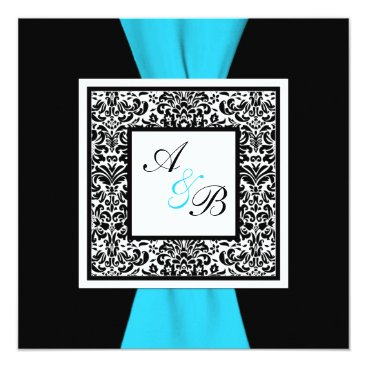 Black and White Damask PRINTED Ribbon Card