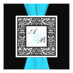 Black and White Damask PRINTED Ribbon Personalized Announcements