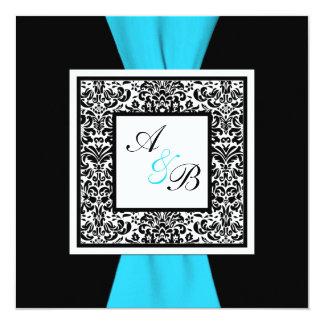 Black and White Damask PRINTED Ribbon 5.25x5.25 Square Paper Invitation Card