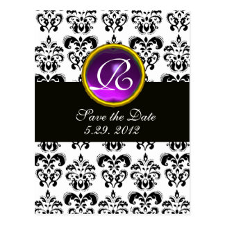 BLACK AND WHITE DAMASK Purple Amethyst Monogram Postcard