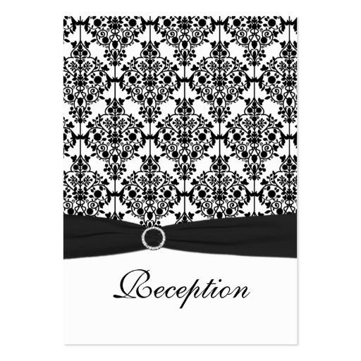 Black and White Damask Reception Card Business Card Templates