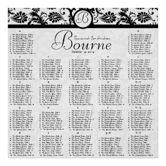 Black and White Damask Reception Seating Chart