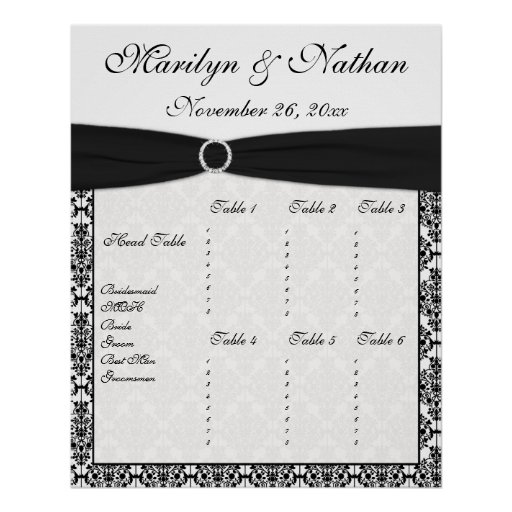 Black and White Damask Reception Seating Chart Posters