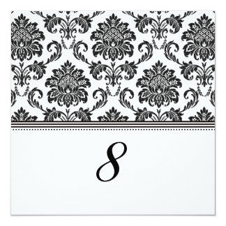 """Black and White Damask Reception Table Number 5.25"""" Square Invitation Card"""