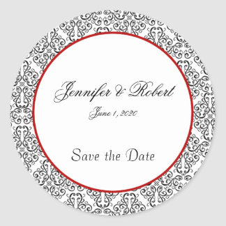 Black and White Damask Red Accent Envelope Seal Classic Round Sticker