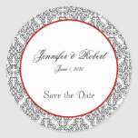 Black and White Damask Red Accent Envelope Seal Round Stickers