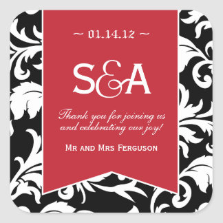 Black and White Damask - Red Accent Favor Stickers