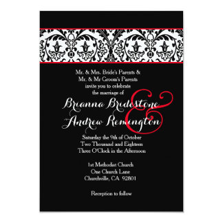 Black and White Damask Red Accents Wedding A09 Card