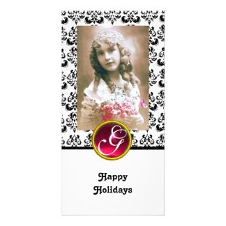 BLACK AND WHITE DAMASK Red Ruby Monogram Card