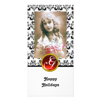 BLACK AND WHITE DAMASK Red Ruby Monogram Personalized Photo Card
