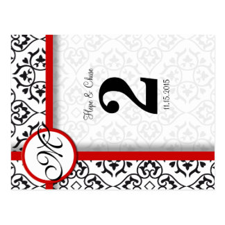 Black and White Damask Red Trim Table Number Postcard